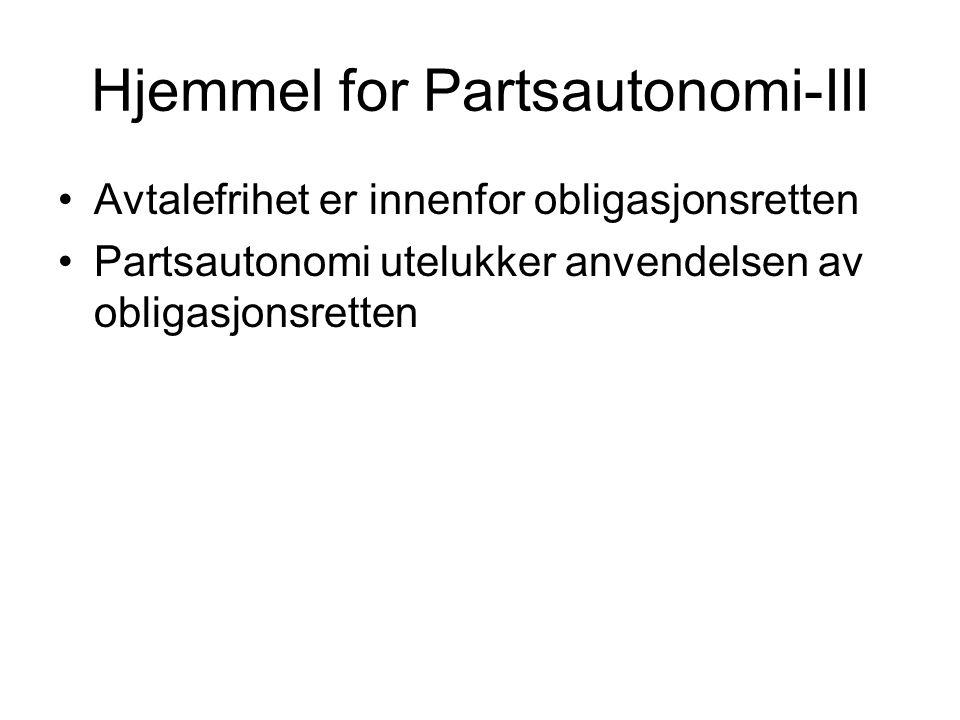 Hjemmel for Partsautonomi-III Avtalefrihet er innenfor obligasjonsretten Partsautonomi utelukker anvendelsen av obligasjonsretten