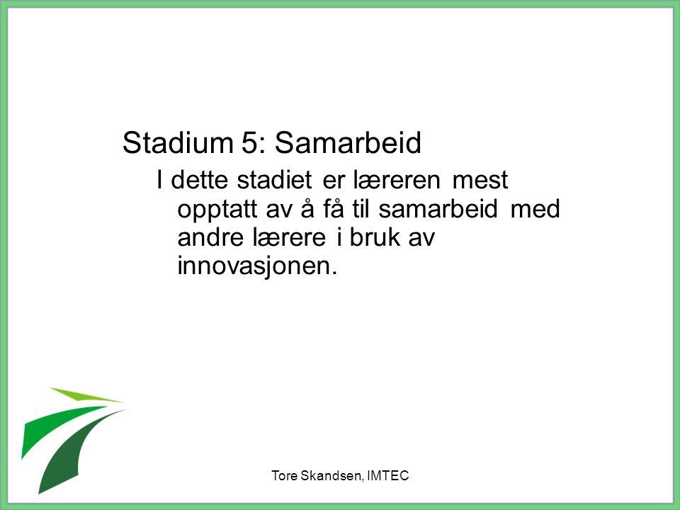 Tore Skandsen, IMTEC Stadium 5: Samarbeid I dette stadiet er læreren mest opptatt av å få til samarbeid med andre lærere i bruk av innovasjonen.