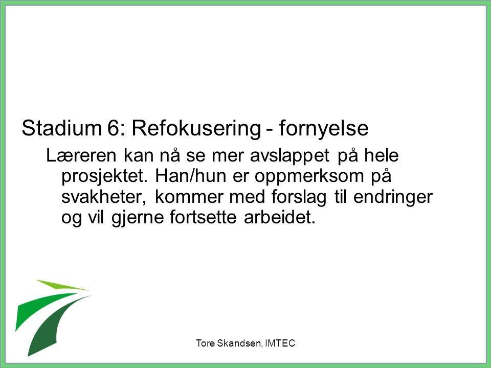 Tore Skandsen, IMTEC Stadium 6: Refokusering - fornyelse Læreren kan nå se mer avslappet på hele prosjektet. Han/hun er oppmerksom på svakheter, komme
