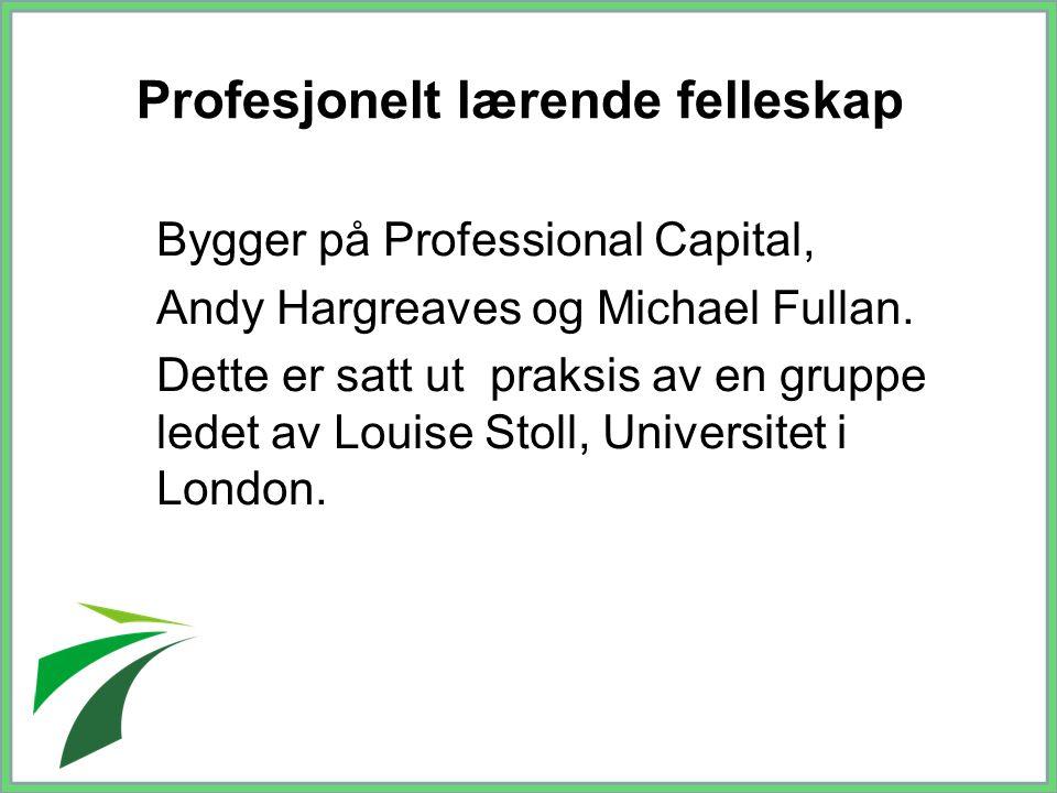 Profesjonelt lærende felleskap Bygger på Professional Capital, Andy Hargreaves og Michael Fullan. Dette er satt ut praksis av en gruppe ledet av Louis