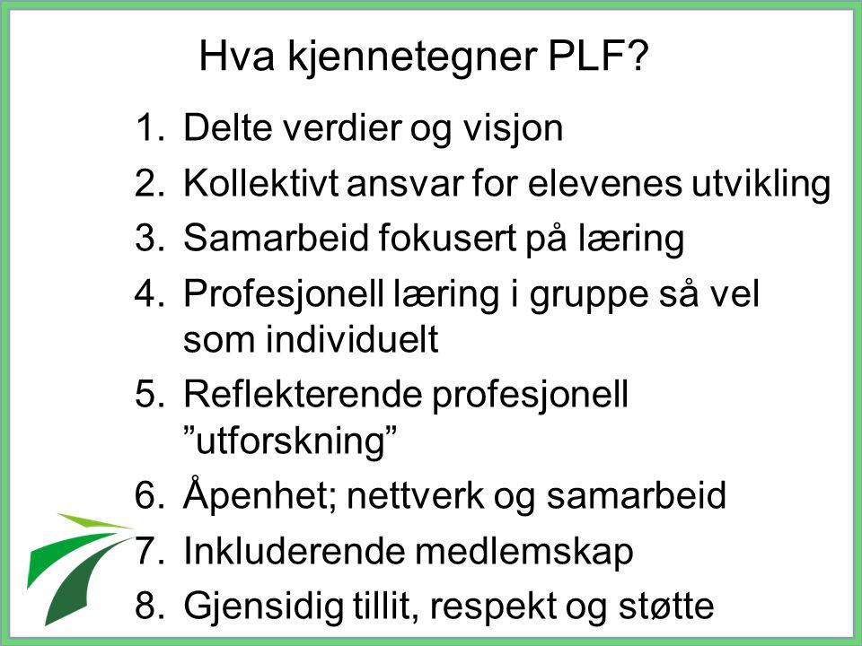 Hva kjennetegner PLF? 1.Delte verdier og visjon 2.Kollektivt ansvar for elevenes utvikling 3.Samarbeid fokusert på læring 4.Profesjonell læring i grup