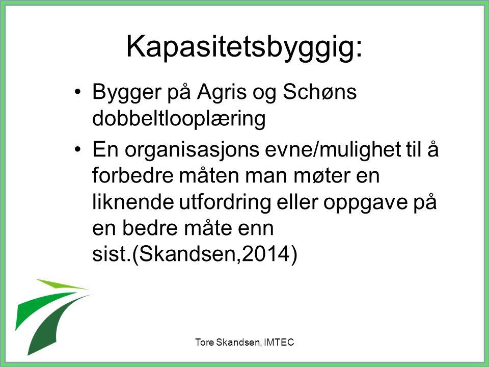 Tore Skandsen, IMTEC Kapasitetsbyggig: Bygger på Agris og Schøns dobbeltlooplæring En organisasjons evne/mulighet til å forbedre måten man møter en li