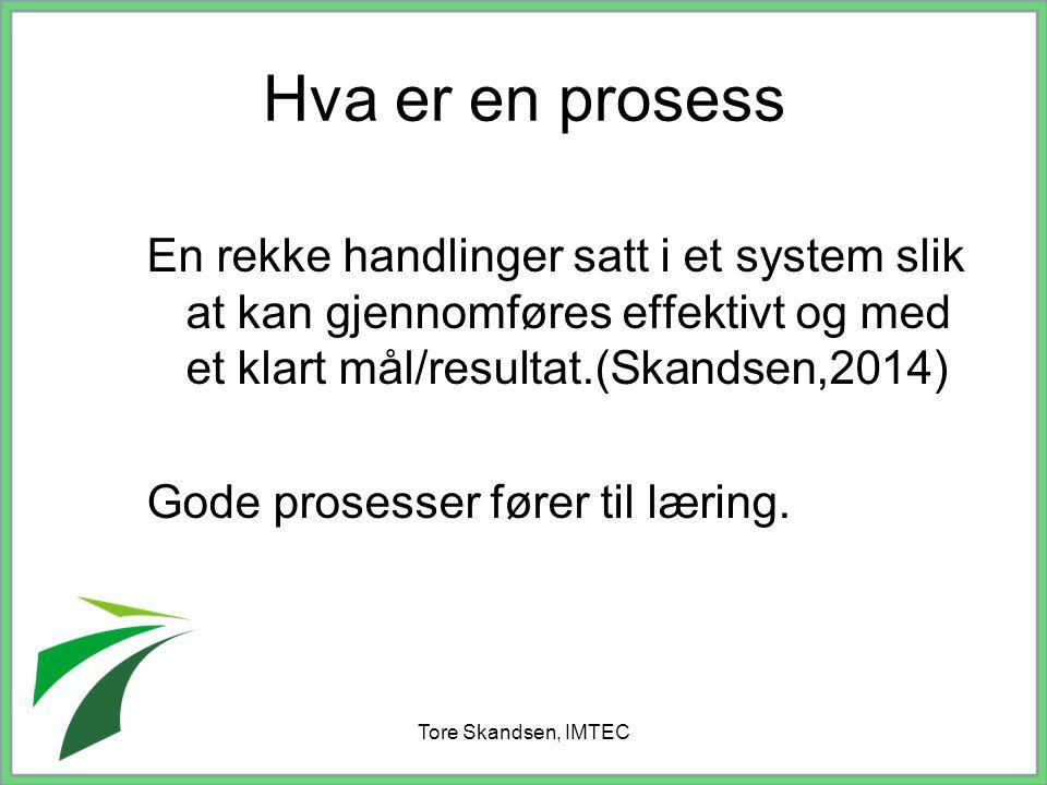 Tore Skandsen, IMTEC Hva er en prosess En rekke handlinger satt i et system slik at kan gjennomføres effektivt og med et klart mål/resultat.(Skandsen,