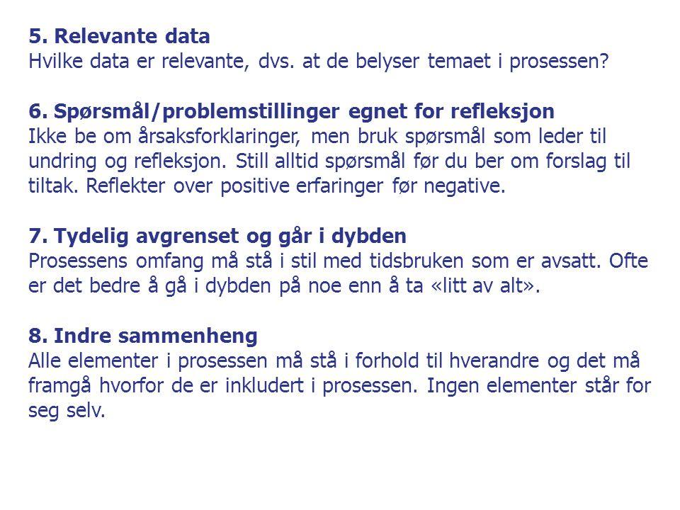 5. Relevante data Hvilke data er relevante, dvs. at de belyser temaet i prosessen? 6. Spørsmål/problemstillinger egnet for refleksjon Ikke be om årsak