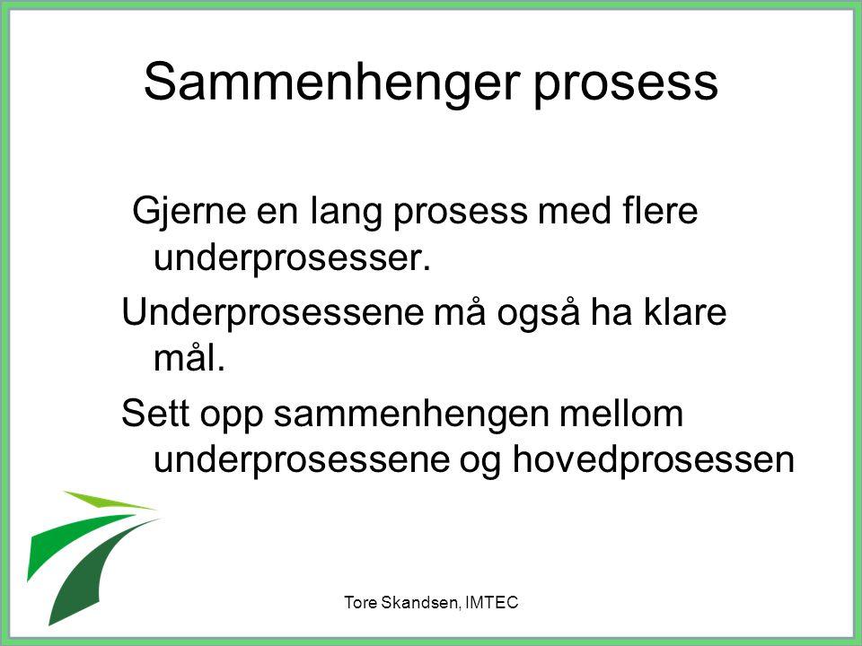 Tore Skandsen, IMTEC Sammenhenger prosess Gjerne en lang prosess med flere underprosesser. Underprosessene må også ha klare mål. Sett opp sammenhengen
