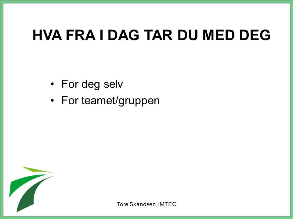 Tore Skandsen, IMTEC For deg selv For teamet/gruppen HVA FRA I DAG TAR DU MED DEG