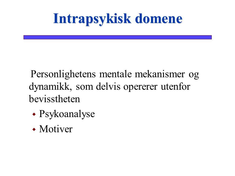 Personlighetens mentale mekanismer og dynamikk, som delvis opererer utenfor bevisstheten   Psykoanalyse   Motiver Intrapsykisk domene