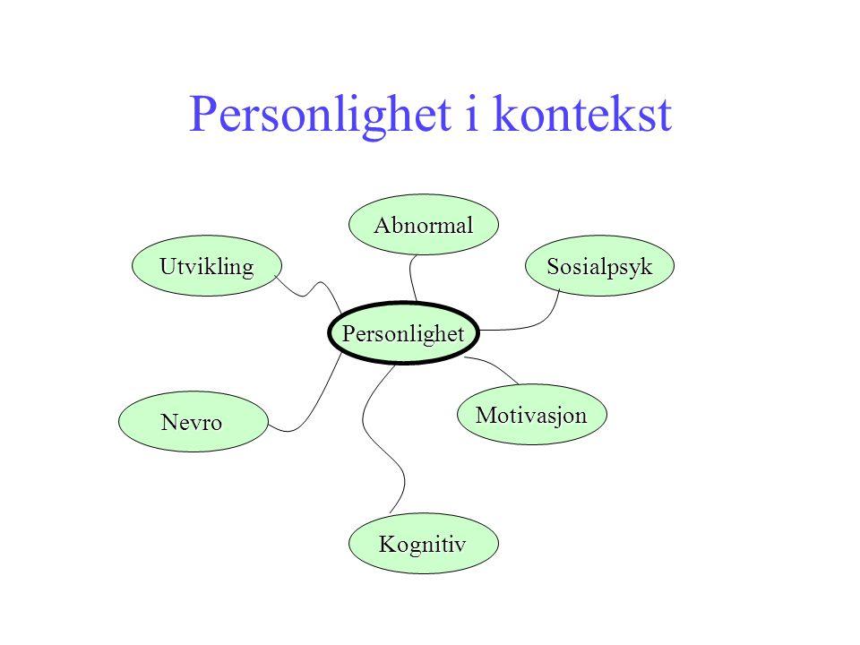 Personlighet i kontekst Personlighet Sosialpsyk Motivasjon Kognitiv Nevro Utvikling Abnormal