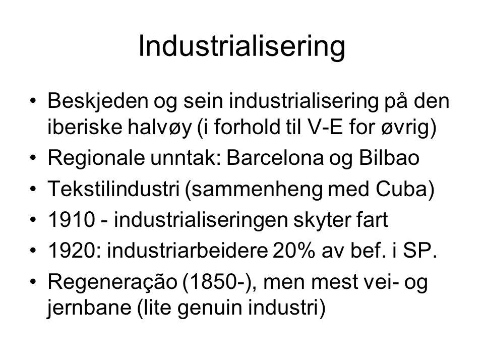 Industrialisering Beskjeden og sein industrialisering på den iberiske halvøy (i forhold til V-E for øvrig) Regionale unntak: Barcelona og Bilbao Tekst
