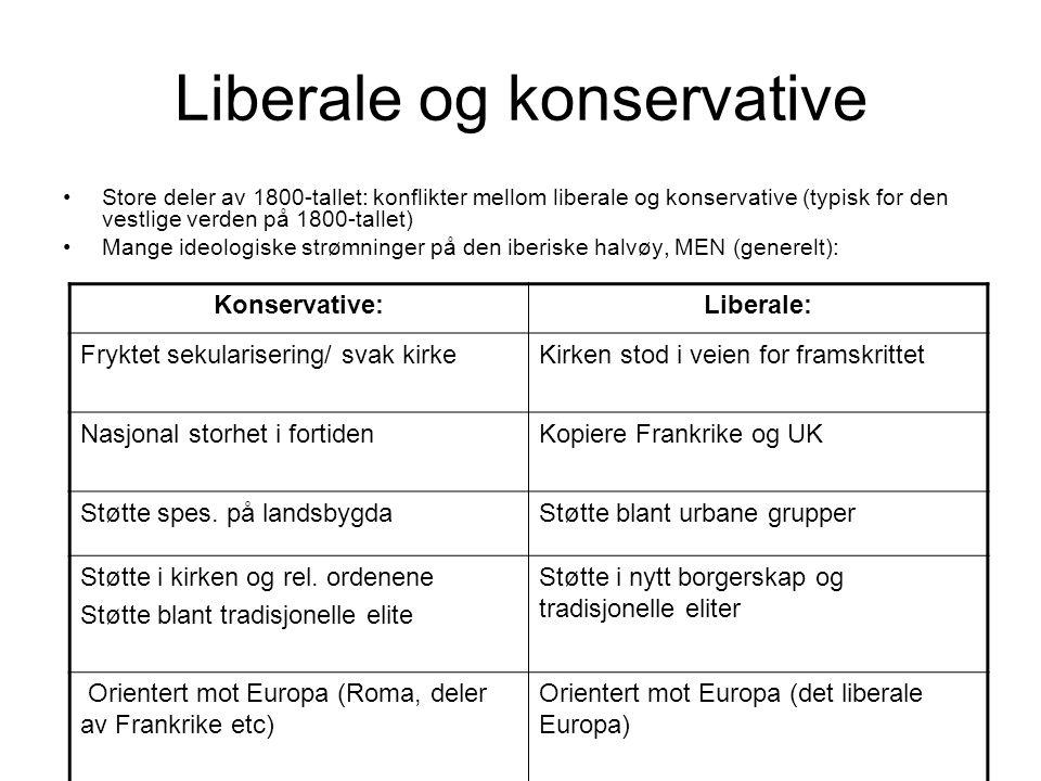 Liberale og konservative Store deler av 1800-tallet: konflikter mellom liberale og konservative (typisk for den vestlige verden på 1800-tallet) Mange