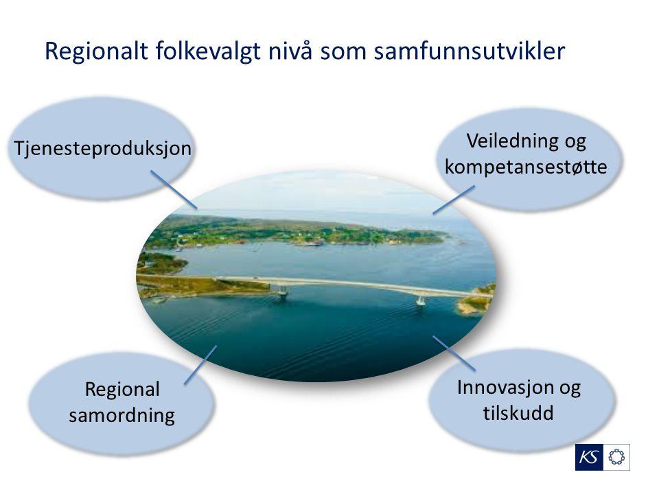 Regionalt folkevalgt nivå som samfunnsutvikler Innovasjon og tilskudd Tjenesteproduksjon Veiledning og kompetansestøtte Regional samordning
