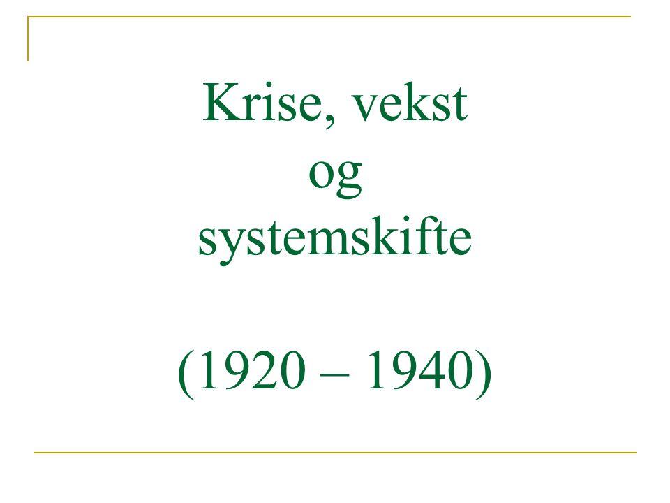 Krise, vekst og systemskifte (1920 – 1940)