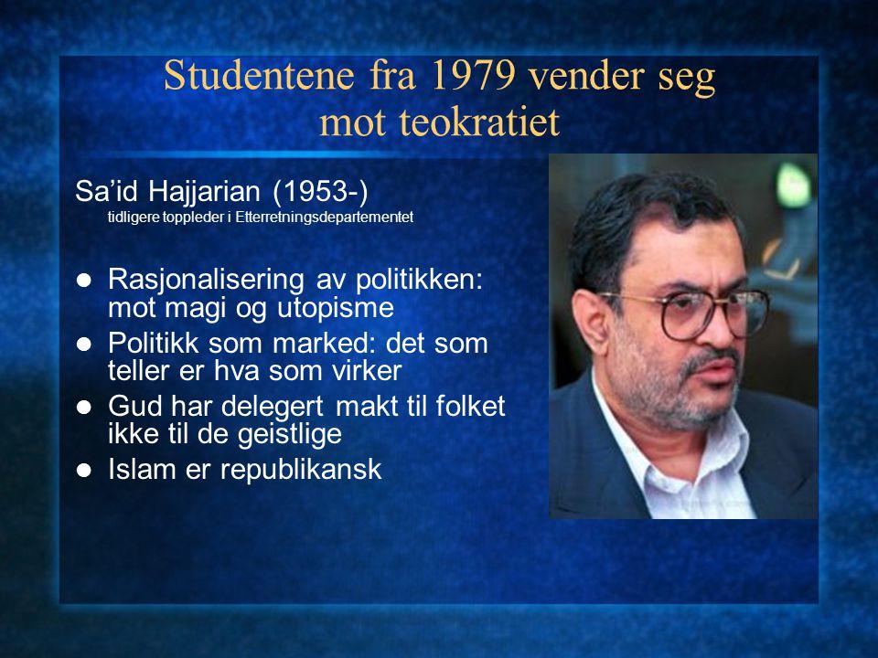 Studentene fra 1979 vender seg mot teokratiet Sa'id Hajjarian (1953-) tidligere toppleder i Etterretningsdepartementet Rasjonalisering av politikken: mot magi og utopisme Politikk som marked: det som teller er hva som virker Gud har delegert makt til folket ikke til de geistlige Islam er republikansk