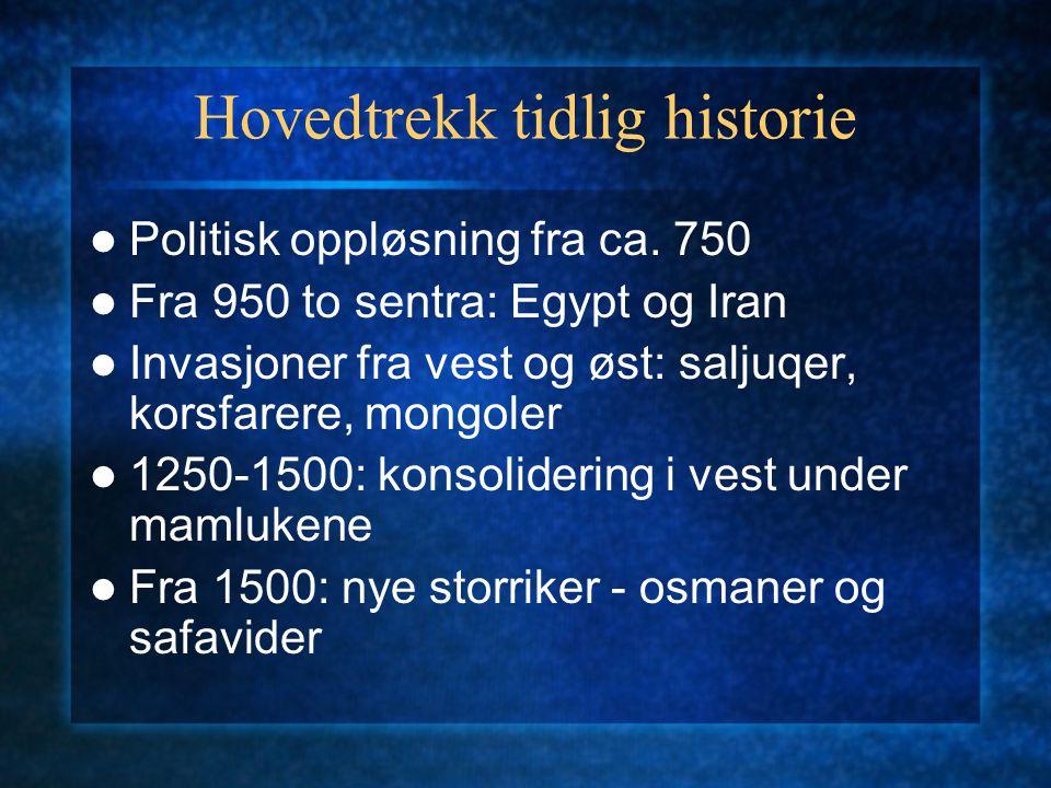Hovedtrekk tidlig historie Politisk oppløsning fra ca.