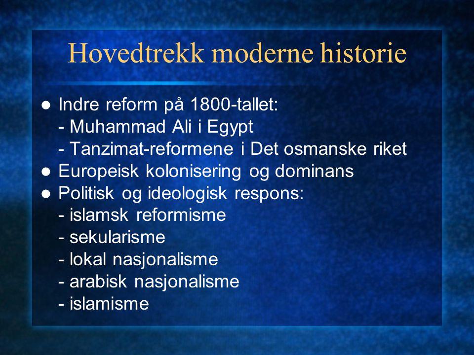 Hovedtrekk moderne historie Indre reform på 1800-tallet: - Muhammad Ali i Egypt - Tanzimat-reformene i Det osmanske riket Europeisk kolonisering og do
