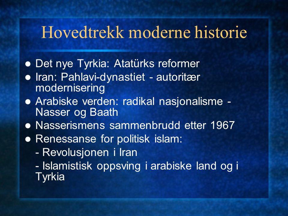 Hovedtrekk moderne historie Det nye Tyrkia: Atatürks reformer Iran: Pahlavi-dynastiet - autoritær modernisering Arabiske verden: radikal nasjonalisme