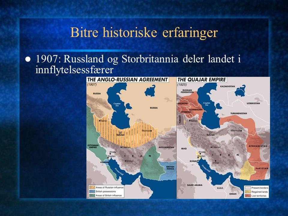 Bitre historiske erfaringer 1907: Russland og Storbritannia deler landet i innflytelsessfærer