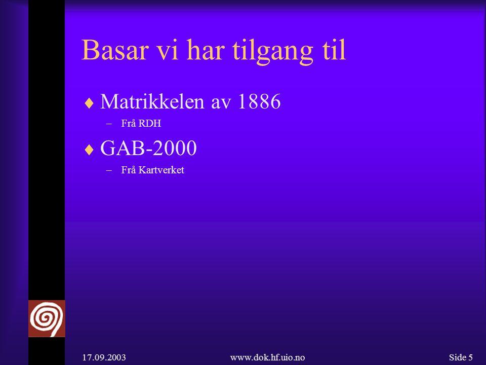 17.09.2003www.dok.hf.uio.noSide 6 Delvis publiserte data  Bustadnamnarkivet frå Oslo –100.000 kort –XML-tagga materiale –Kopla til faksimiler av arkivkort –Faksimiler tilgjengeleg på WEB (http://www.dokpro.uio.no/cgi-bin/faksimilearkiva/arkiv?BNAMN)http://www.dokpro.uio.no/cgi-bin/faksimilearkiva/arkiv?BNAMN  Heradsregisteret frå Tromsø –25.000 stadnamn –XML-tagga materiale –Kopla til faksimiler av arkivkort –Faksimiler tilgjengeleg på WEB (http://www.dokpro.uio.no/cgi-bin/faksimilearkiva/arkiv?NNNAMN) (http://www.dokpro.uio.no/cgi-bin/faksimilearkiva/arkiv?NNNAMN)