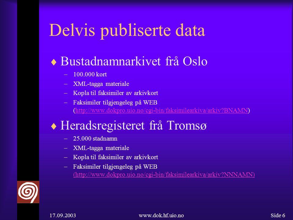 17.09.2003www.dok.hf.uio.noSide 17 Nasjonale namnedatabasar  Identifisering av ulike databasetypar  Utvikle felles modellar for dei ulike databasetypane  Utvikle utvekslingsformat  Utvikle ein felles ressurs og/eller portal for namnegransking