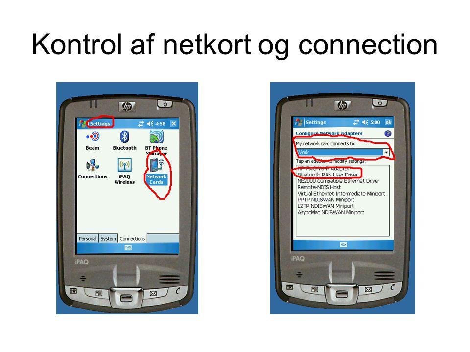 Kontrol af netkort og connection
