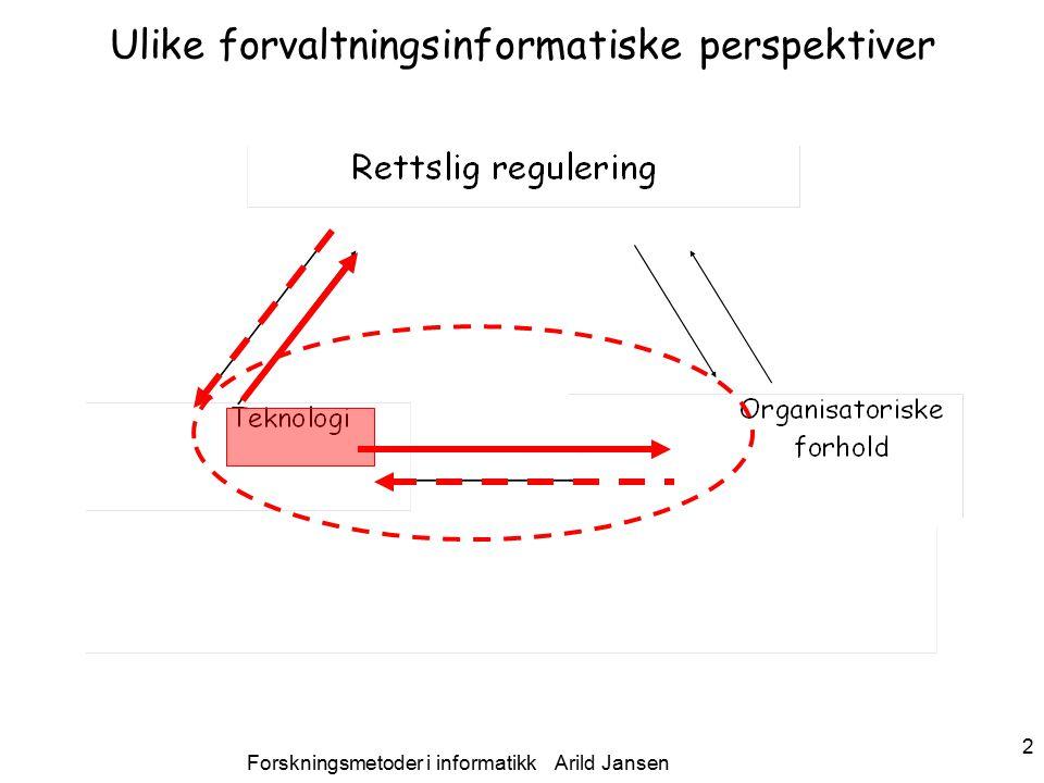 Forskningsmetoder i informatikk Arild Jansen 2 Ulike forvaltningsinformatiske perspektiver