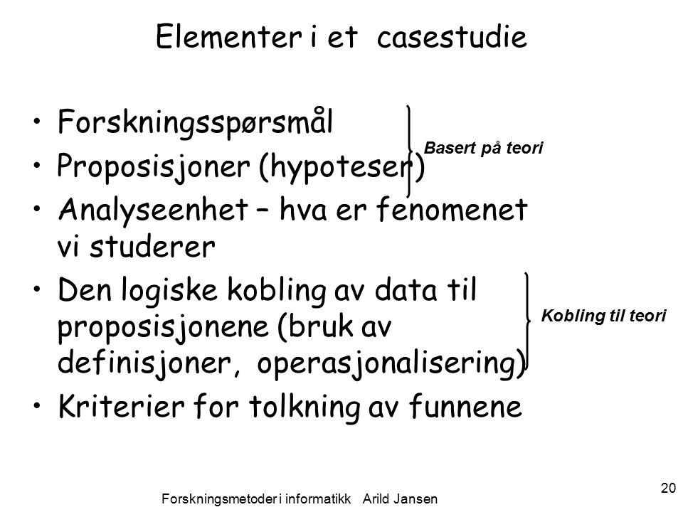 Forskningsmetoder i informatikk Arild Jansen 20 Elementer i et casestudie Forskningsspørsmål Proposisjoner (hypoteser) Analyseenhet – hva er fenomenet vi studerer Den logiske kobling av data til proposisjonene (bruk av definisjoner, operasjonalisering) Kriterier for tolkning av funnene Basert på teori Kobling til teori