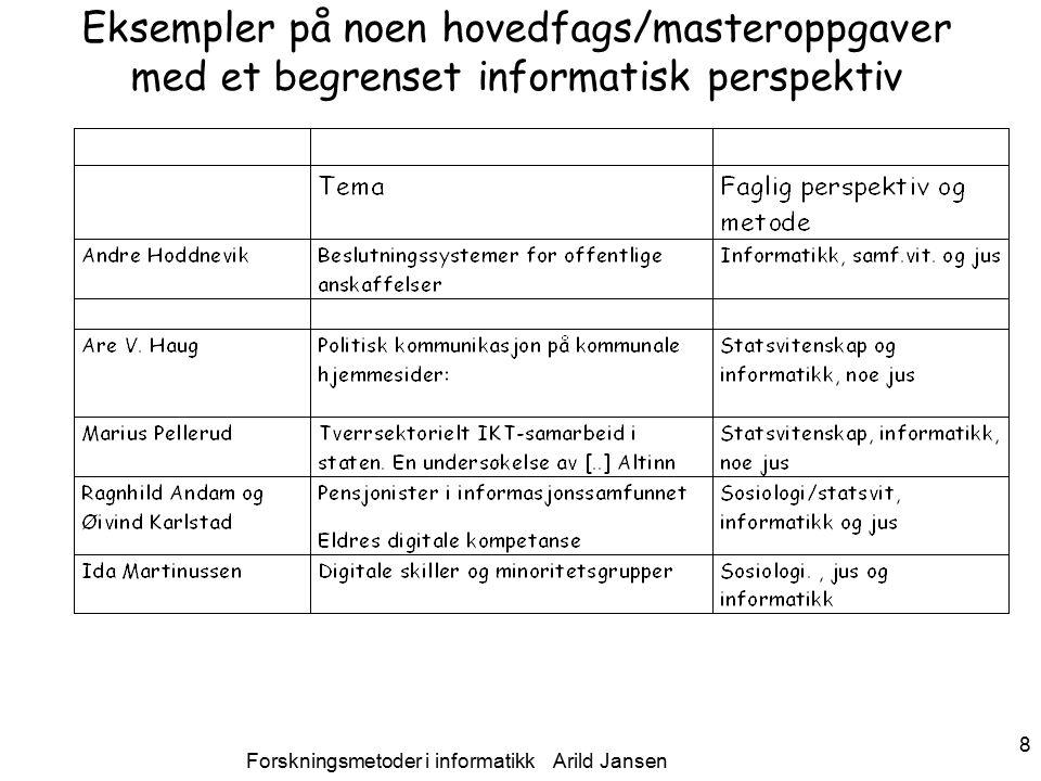 Forskningsmetoder i informatikk Arild Jansen 9 Bruk av typiske positivistisk metoder i IS- forskning Såkalte teknologimodenhets-, sprednings og –akseptanse- studier –(eks.