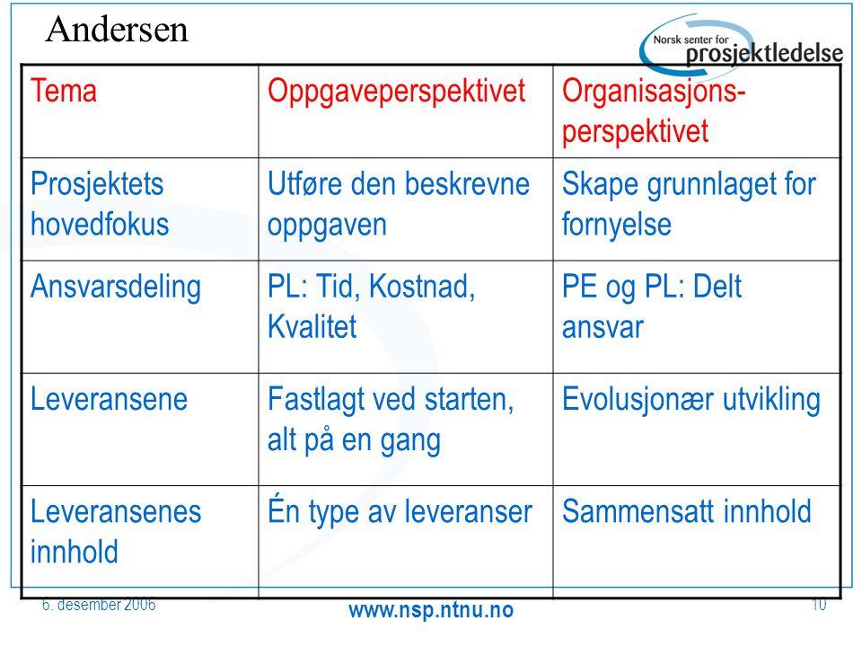 6. desember 2006 www.nsp.ntnu.no 10 TemaOppgaveperspektivetOrganisasjons- perspektivet Prosjektets hovedfokus Utføre den beskrevne oppgaven Skape grun