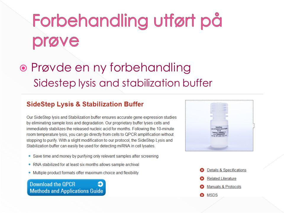  Prøvde en ny forbehandling Sidestep lysis and stabilization buffer