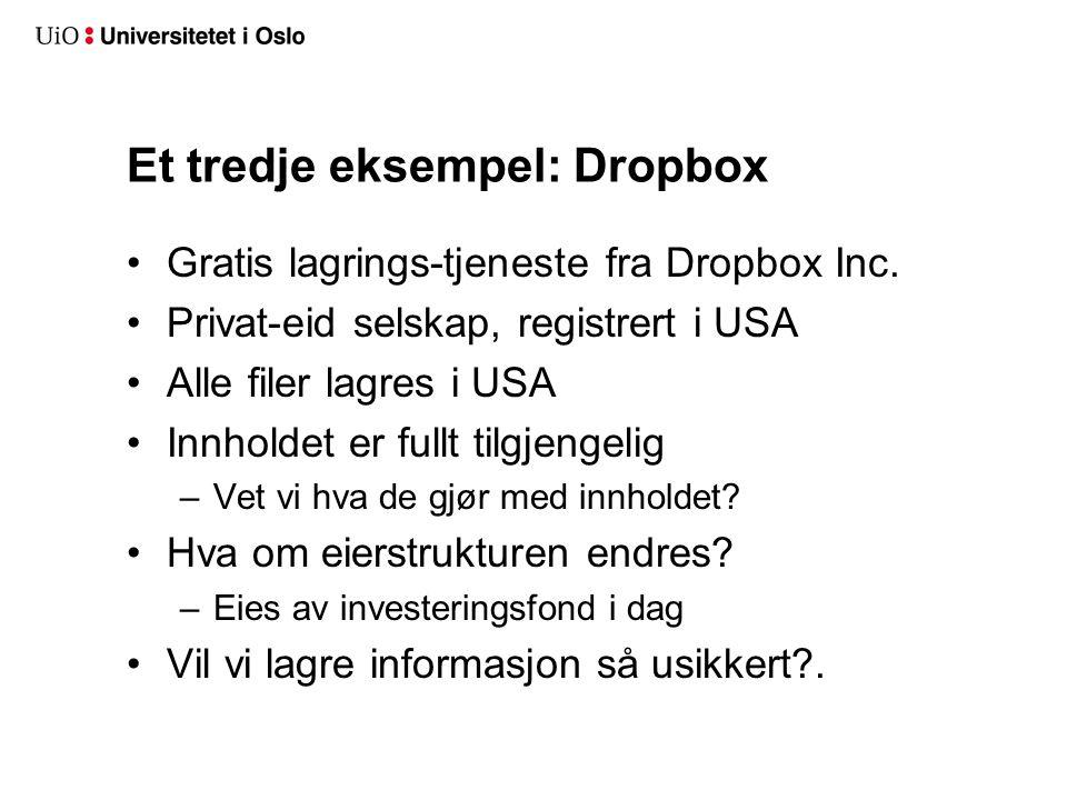 Et tredje eksempel: Dropbox Gratis lagrings-tjeneste fra Dropbox Inc.
