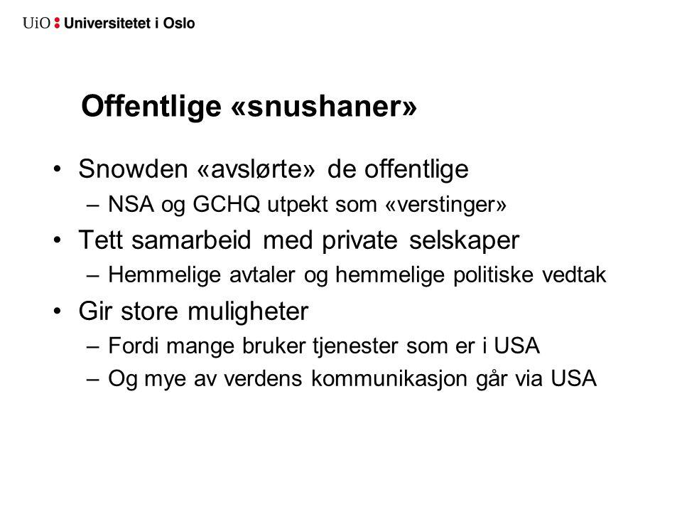Offentlige «snushaner» Snowden «avslørte» de offentlige –NSA og GCHQ utpekt som «verstinger» Tett samarbeid med private selskaper –Hemmelige avtaler og hemmelige politiske vedtak Gir store muligheter –Fordi mange bruker tjenester som er i USA –Og mye av verdens kommunikasjon går via USA