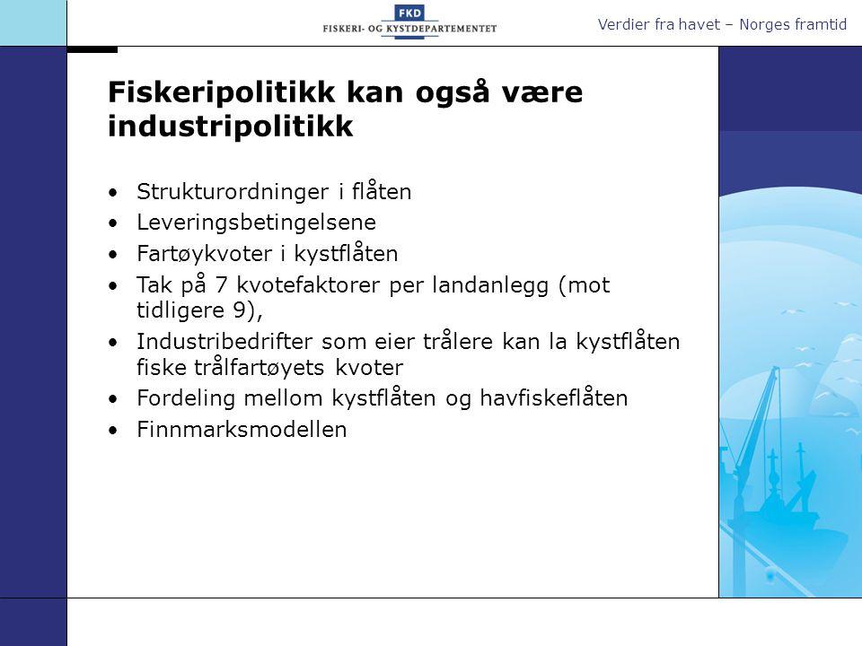 Strukturordninger i flåten Leveringsbetingelsene Fartøykvoter i kystflåten Tak på 7 kvotefaktorer per landanlegg (mot tidligere 9), Industribedrifter som eier trålere kan la kystflåten fiske trålfartøyets kvoter Fordeling mellom kystflåten og havfiskeflåten Finnmarksmodellen Fiskeripolitikk kan også være industripolitikk
