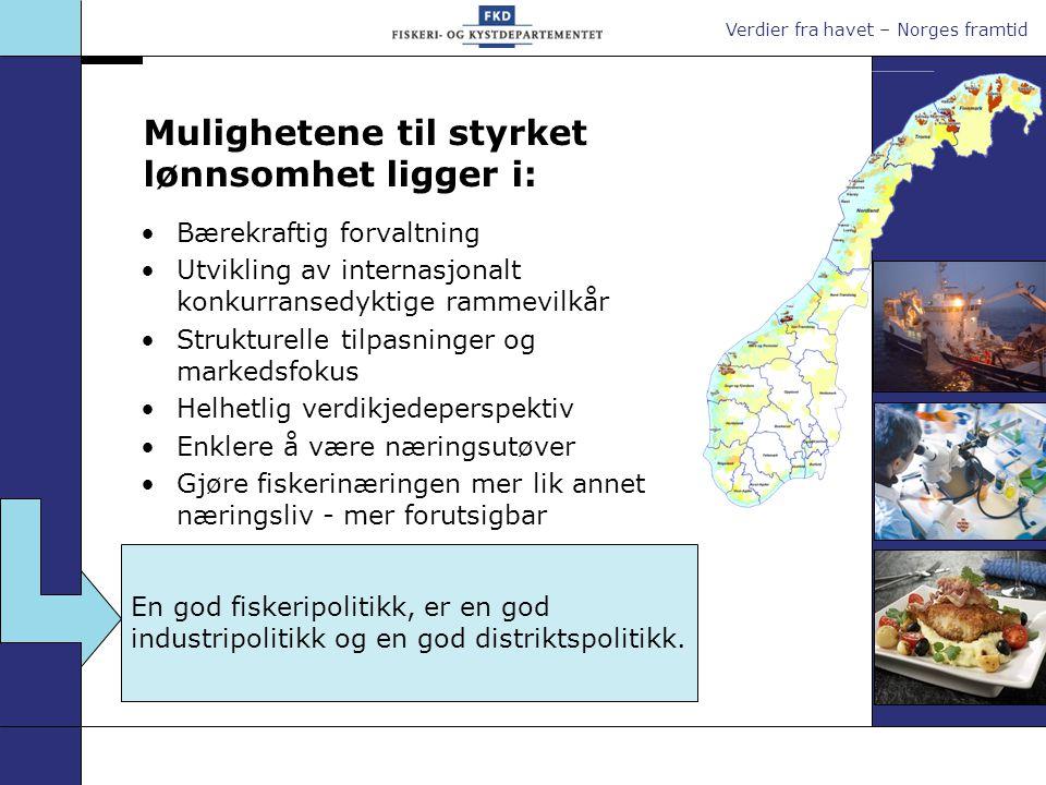 Verdier fra havet – Norges framtid Mulighetene til styrket lønnsomhet ligger i: En god fiskeripolitikk, er en god industripolitikk og en god distriktspolitikk.