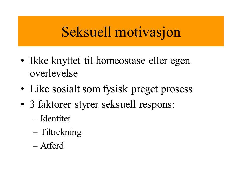 Seksuell motivasjon Ikke knyttet til homeostase eller egen overlevelse Like sosialt som fysisk preget prosess 3 faktorer styrer seksuell respons: –Identitet –Tiltrekning –Atferd