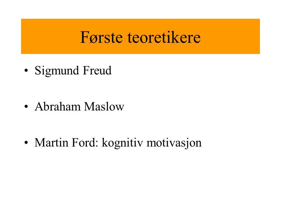 Første teoretikere Sigmund Freud Abraham Maslow Martin Ford: kognitiv motivasjon