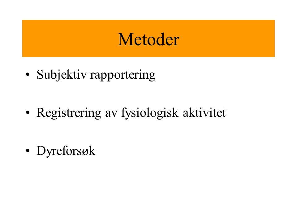 Metoder Subjektiv rapportering Registrering av fysiologisk aktivitet Dyreforsøk
