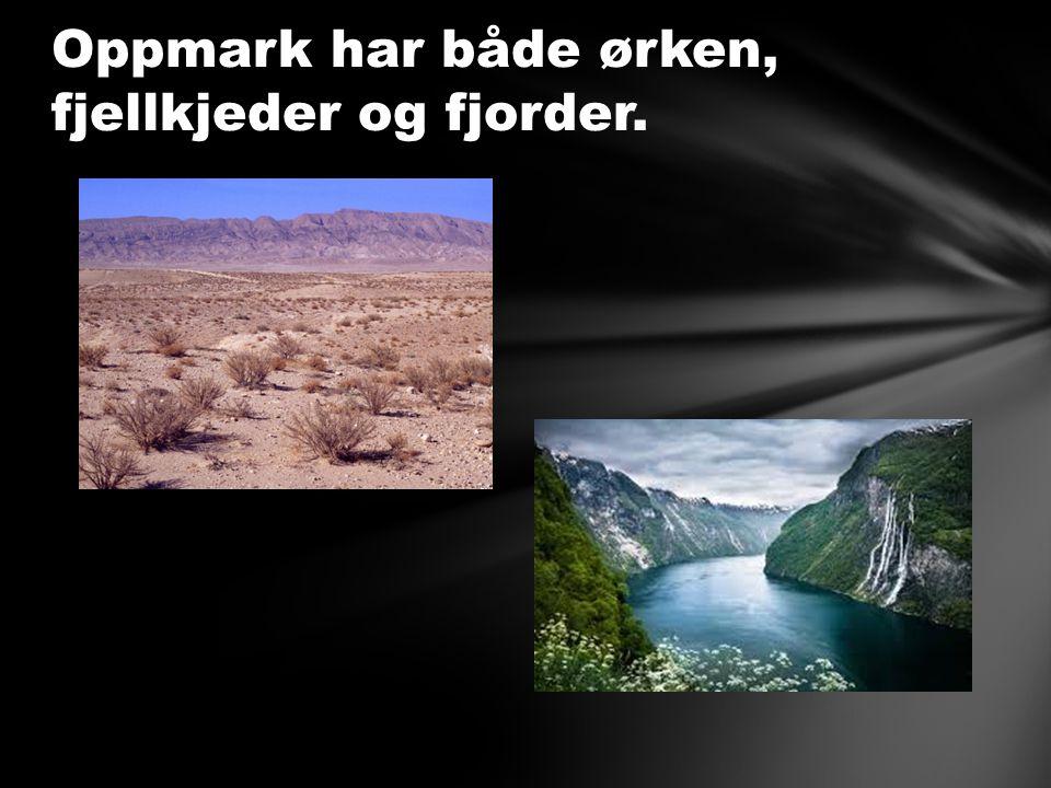 Oppmark har både ørken, fjellkjeder og fjorder.