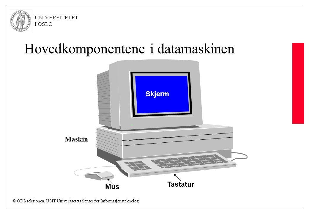 © ODI-seksjonen, USIT Universitetets Senter for Informasjonsteknologi UNIVERSITETET I OSLO Hovedkomponentene i datamaskinen Skjerm Tastatur Mus Maskin