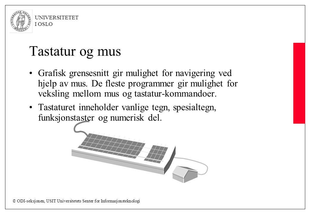 © ODI-seksjonen, USIT Universitetets Senter for Informasjonsteknologi UNIVERSITETET I OSLO Tastatur og mus Grafisk grensesnitt gir mulighet for navigering ved hjelp av mus.