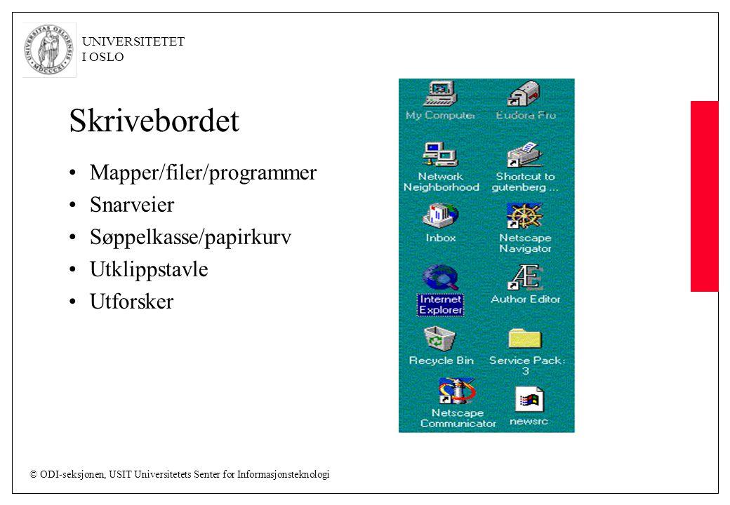 © ODI-seksjonen, USIT Universitetets Senter for Informasjonsteknologi UNIVERSITETET I OSLO Skrivebordet Mapper/filer/programmer Snarveier Søppelkasse/papirkurv Utklippstavle Utforsker