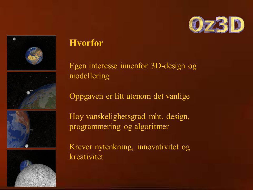 Hvorfor Egen interesse innenfor 3D-design og modellering Oppgaven er litt utenom det vanlige Høy vanskelighetsgrad mht.