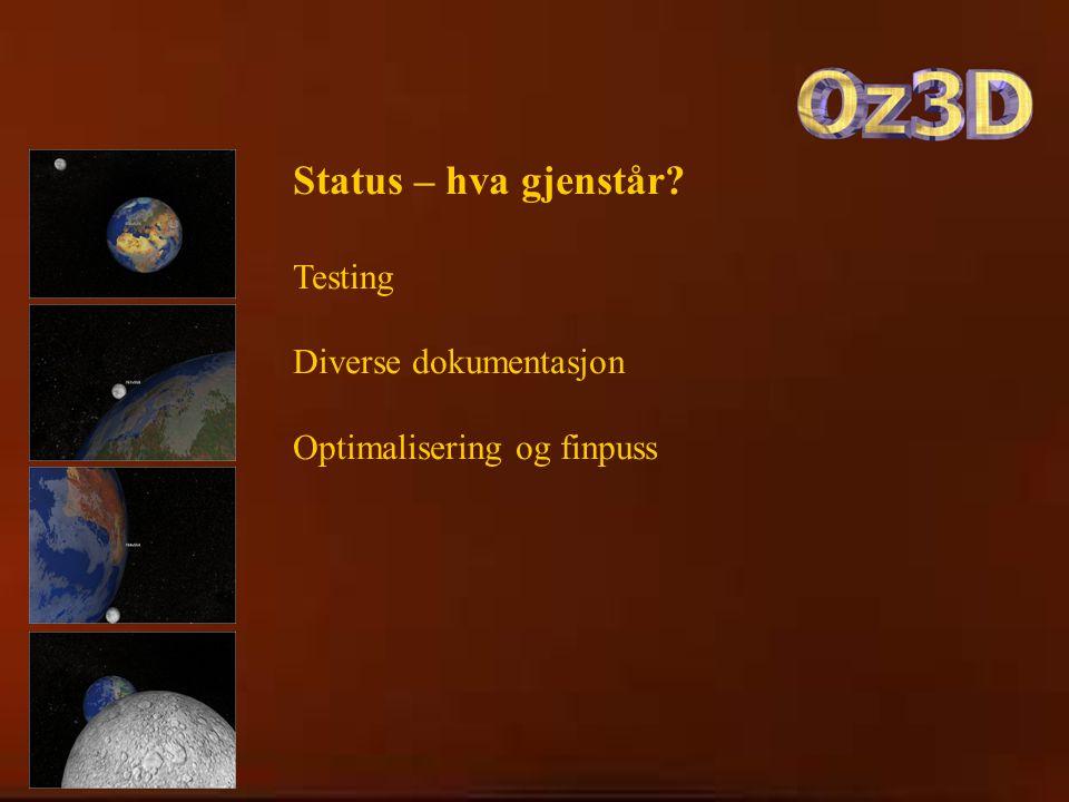 Status – hva gjenstår Testing Diverse dokumentasjon Optimalisering og finpuss