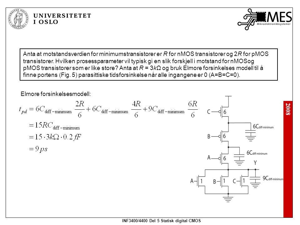 2008 INF3400/4400 Del 5 Statisk digital CMOS Anta at motstandsverdien for minimumstransistorer er R for nMOS transistorer og 2R for pMOS transistorer.