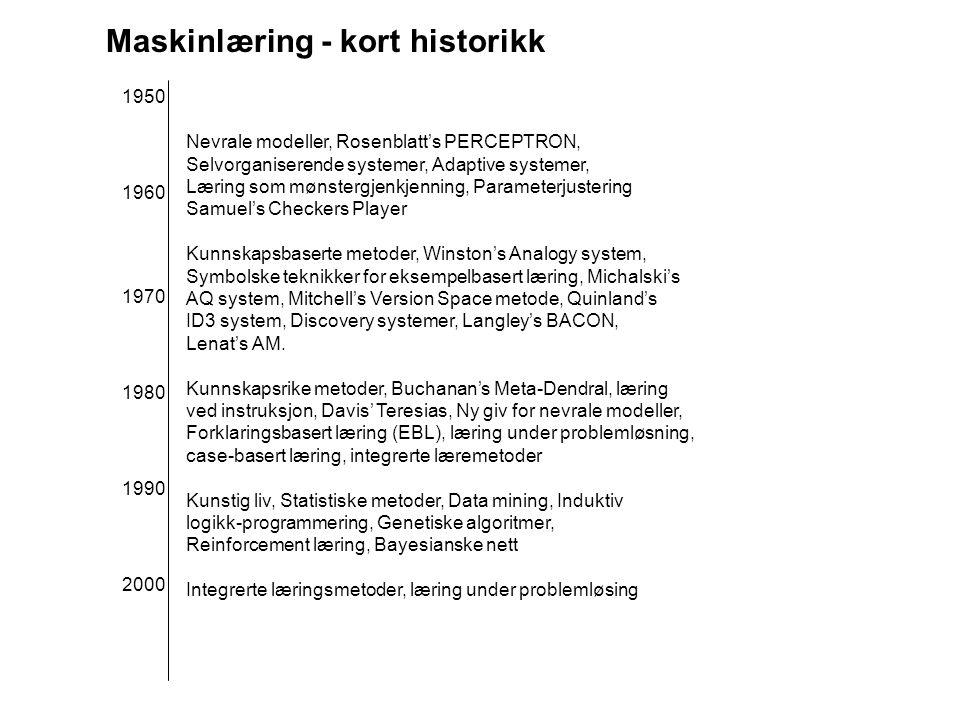 Maskinlæring - kort historikk Nevrale modeller, Rosenblatt's PERCEPTRON, Selvorganiserende systemer, Adaptive systemer, Læring som mønstergjenkjenning, Parameterjustering Samuel's Checkers Player Kunnskapsbaserte metoder, Winston's Analogy system, Symbolske teknikker for eksempelbasert læring, Michalski's AQ system, Mitchell's Version Space metode, Quinland's ID3 system, Discovery systemer, Langley's BACON, Lenat's AM.