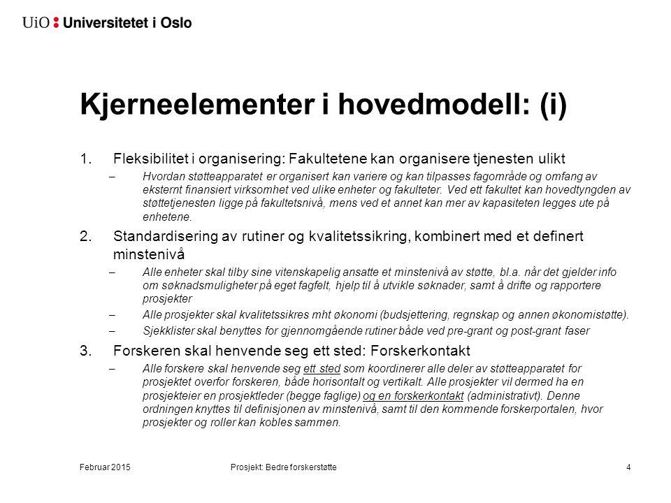 Kjerneelementer i hovedmodell: (i) 1.Fleksibilitet i organisering: Fakultetene kan organisere tjenesten ulikt –Hvordan støtteapparatet er organisert k