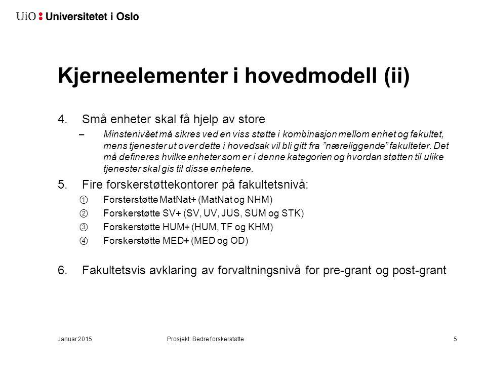 Kjerneelementer i hovedmodell (ii) 4.Små enheter skal få hjelp av store –Minstenivået må sikres ved en viss støtte i kombinasjon mellom enhet og fakul