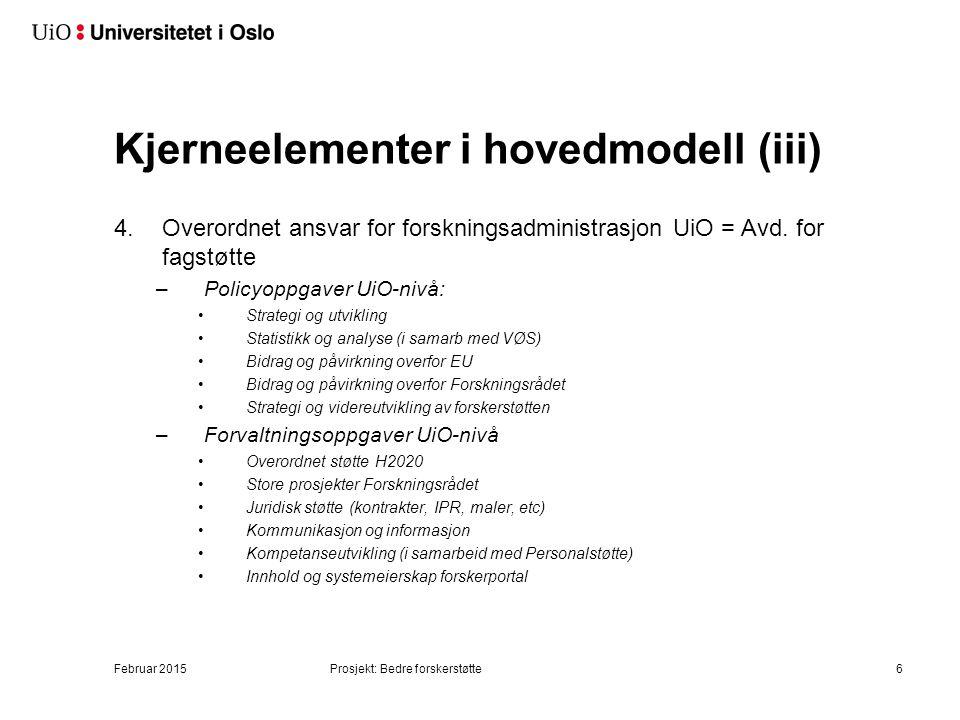 4.Overordnet ansvar for forskningsadministrasjon UiO = Avd. for fagstøtte –Policyoppgaver UiO-nivå: Strategi og utvikling Statistikk og analyse (i sam