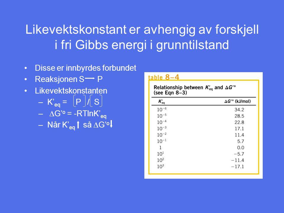 Likevektskonstant er avhengig av forskjell i fri Gibbs energi i grunntilstand Disse er innbyrdes forbundet Reaksjonen S P Likevektskonstanten –K' eq = P / S –  G' o = -RTlnK' eq –Når K' eq så  G' o