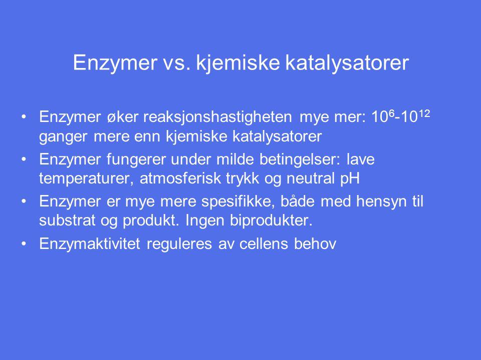 Kofaktorer Noen enzymer er aktive som rene proteiner Andre trenger kofaktorer, hjelpemolekyler/ioner Kofaktorene deltar i den katalytiske prosessen, ofte som midlertidige bærere av funksjonelle grupper Kofaktorer deles i: –Koenzymer, periodevis assosiert til enzymproteinet, ikke kovalent.