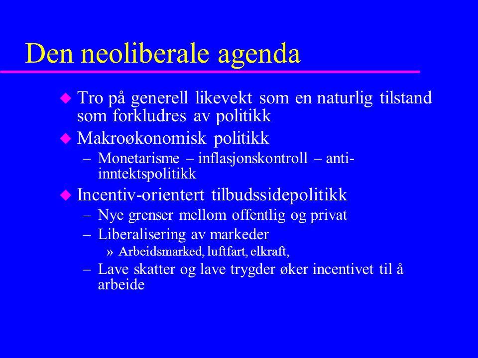 Den neoliberale agenda u Tro på generell likevekt som en naturlig tilstand som forkludres av politikk u Makroøkonomisk politikk –Monetarisme – inflasjonskontroll – anti- inntektspolitikk u Incentiv-orientert tilbudssidepolitikk –Nye grenser mellom offentlig og privat –Liberalisering av markeder »Arbeidsmarked, luftfart, elkraft, –Lave skatter og lave trygder øker incentivet til å arbeide